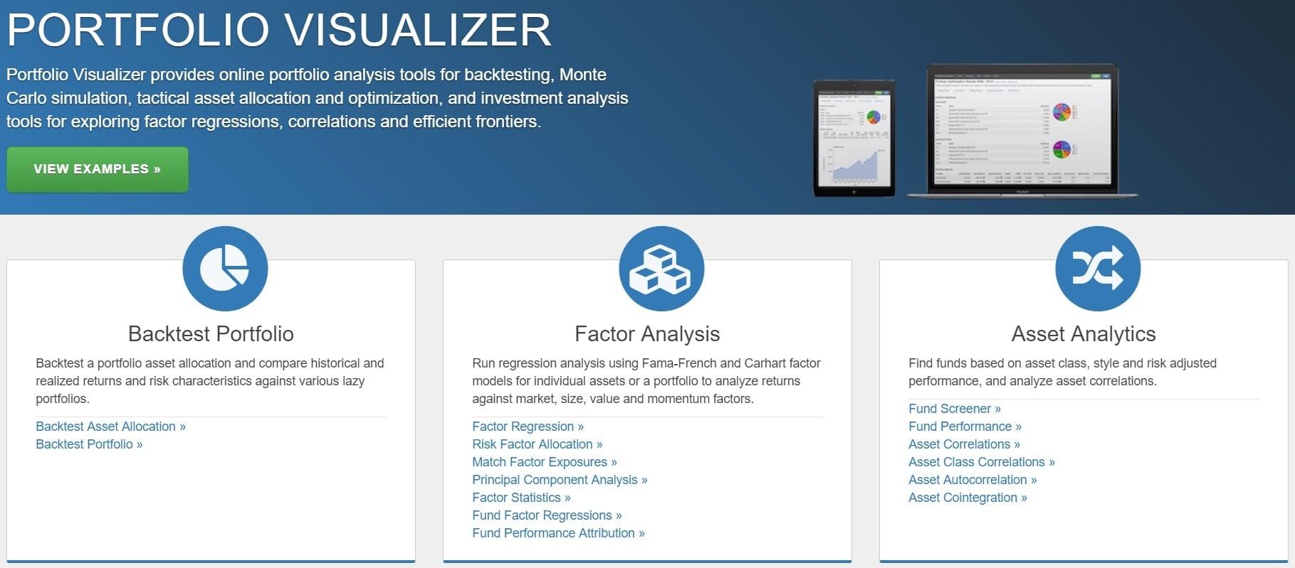 portfoliovisualizer.com сайт для работы с портфелями акций США